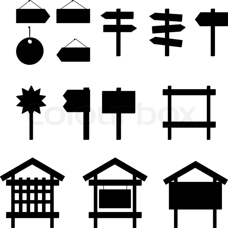 Billboards And Signs Silhouette Set Stock Vector