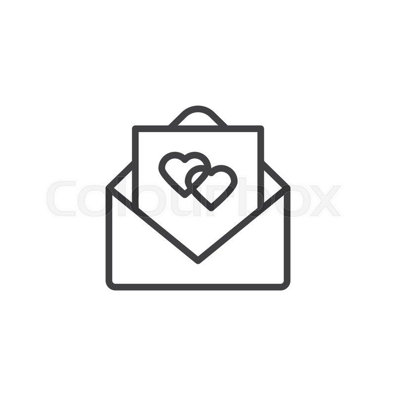 Wedding Invitation Card Line Icon Stock Vector