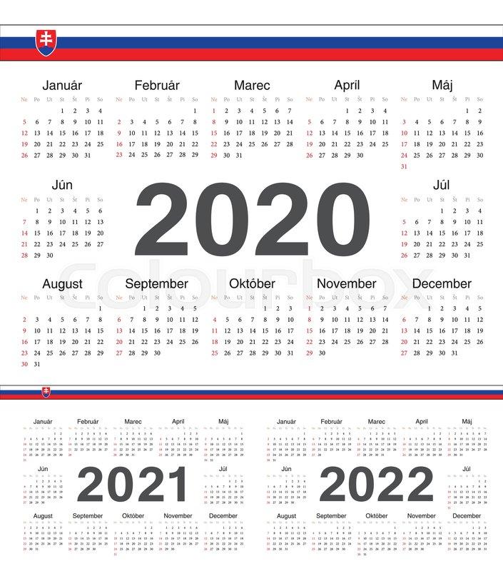 Ut Calendar Fall 2022.Vector Slovak Circle Calendars 2020 Stock Vector Colourbox