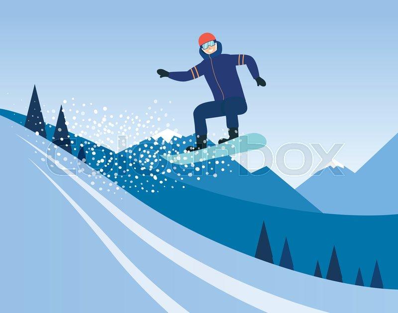 Cartoon Man Riding A Snowboard Stock Vector Colourbox