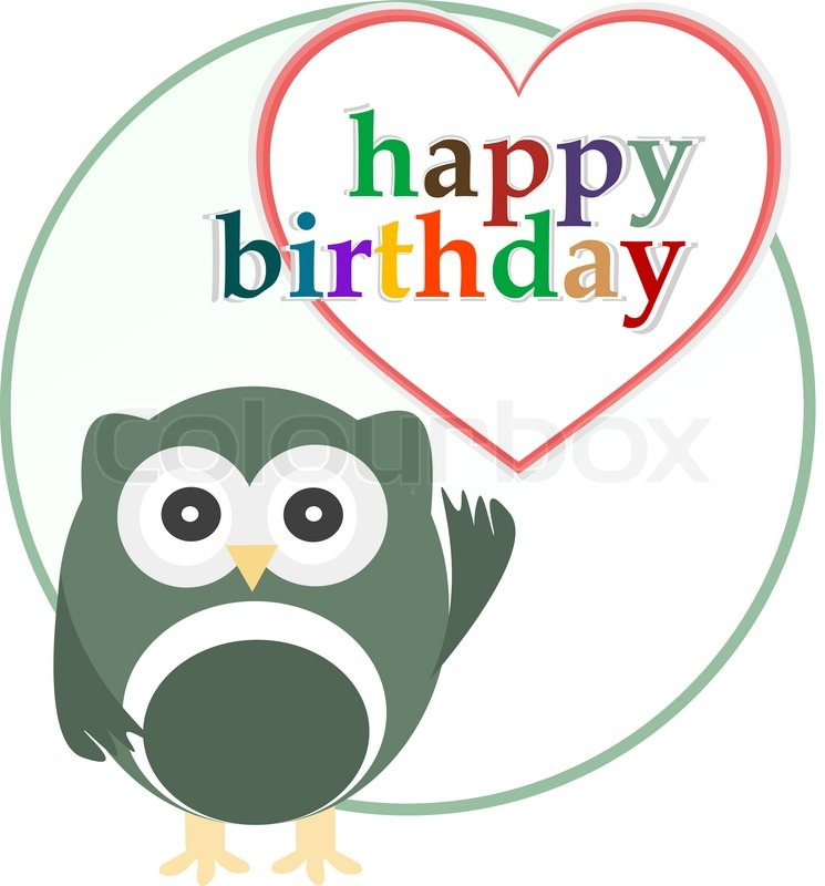 Vector Happy Birthday Party Card With Cute Owl Stock Vector