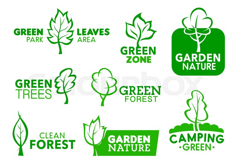Green Leaf And Tree Icons Company Stock Vector Colourbox