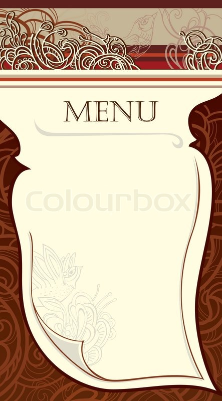 design of the restaurant menu vector image stock vector colourbox. Black Bedroom Furniture Sets. Home Design Ideas