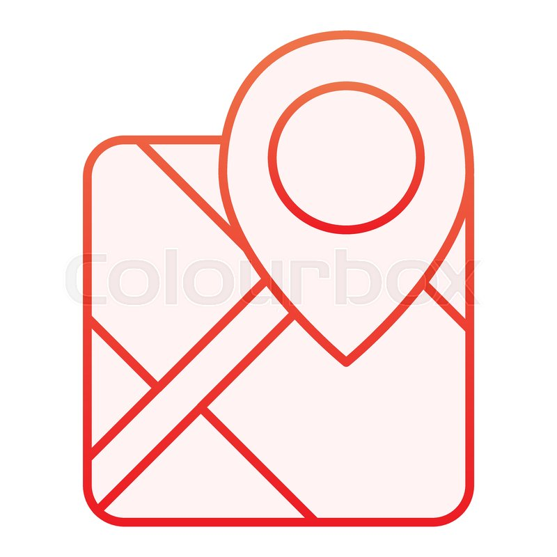 Gps Flat Icon Map With Pin Red Icons Stock Vector Colourbox