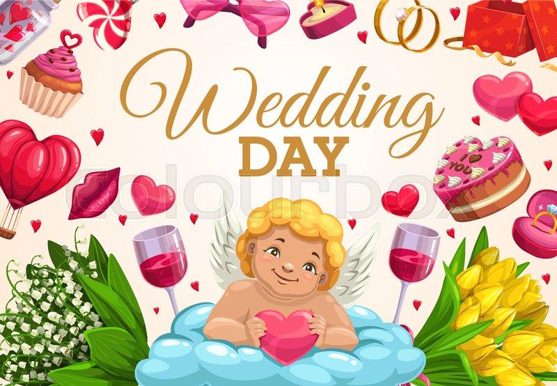 Wedding Day Vector Greeting Card Of Stock Vector Colourbox