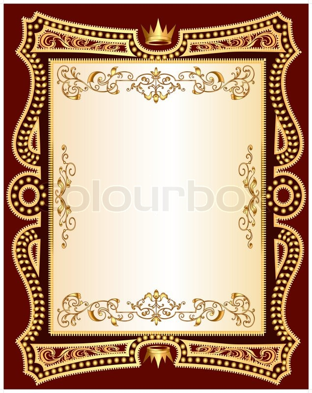 Illustration brown background frame with golden pattern | Stock ...