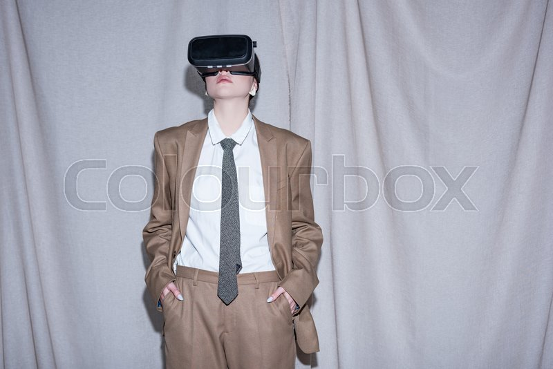 Young Model In Vr Headset Standing On Stock Image Colourbox