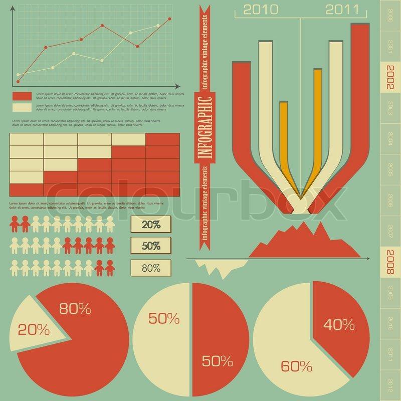 Retro-Elemente für Infografiken - Diagramme, Diagramme für ...