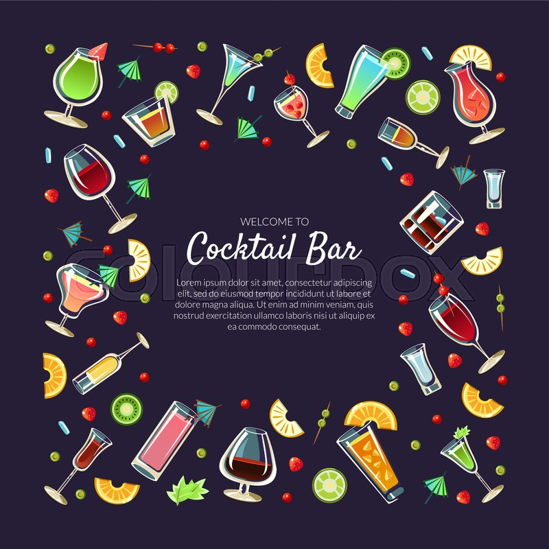 Welcome To Cocktail Bar Banner Stock Vector Colourbox