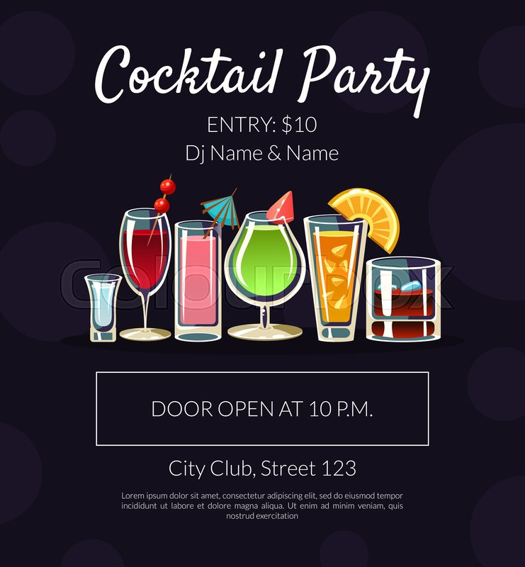 Cocktail Party Banner Template With Stock Vector