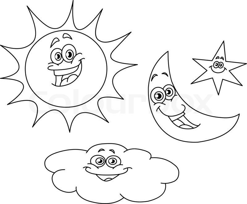 Sun Moon And Stars Coloring Page - Democraciaejustica