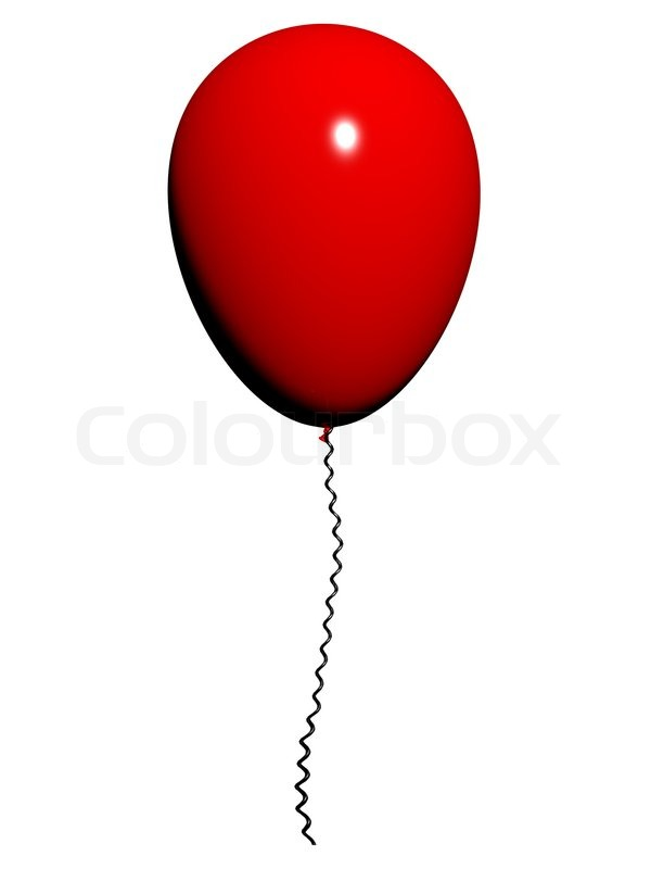 Red Balloon On White Background With Copyspace For Party ...