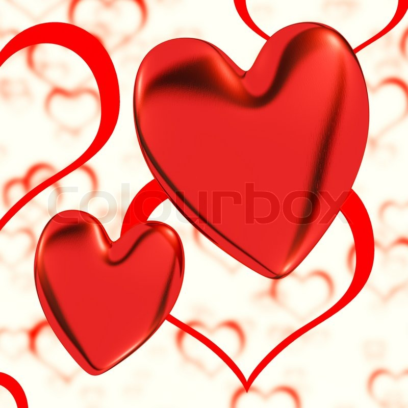 Showing Love: Red, Hearts On A Heart Background Showing Love Romance And