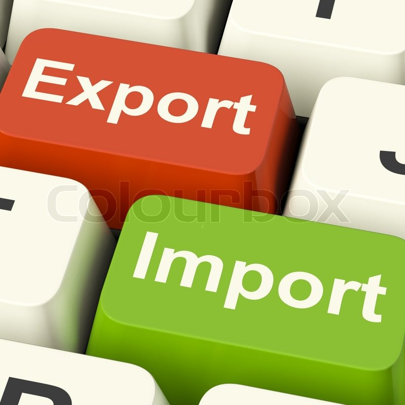 Export And Import Keys Showing International Trade Or Global Commerce, stock photo