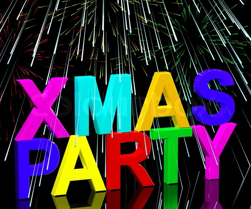 Holidays Celebrations: Xmas Party Words With Fireworks Showing ...