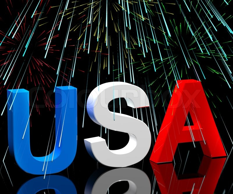 Usa Word And Fireworks As Symbol For America And Patriotism Stock