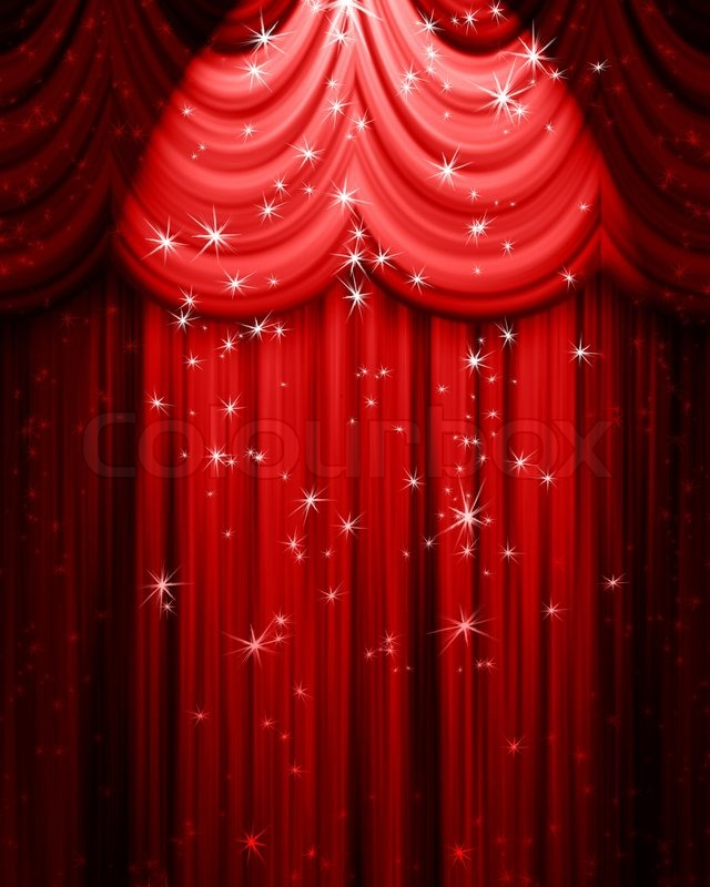Red theatre curtain with spotlight | Stock Photo | Colourbox