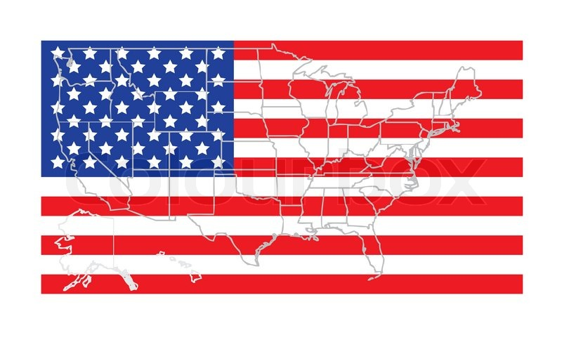 Usa states map outline over accurate flag vector illustration ...