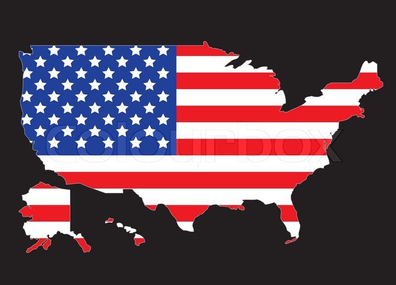 USA Map Ootline With United States Flag Vector Illustration - Us flag and map