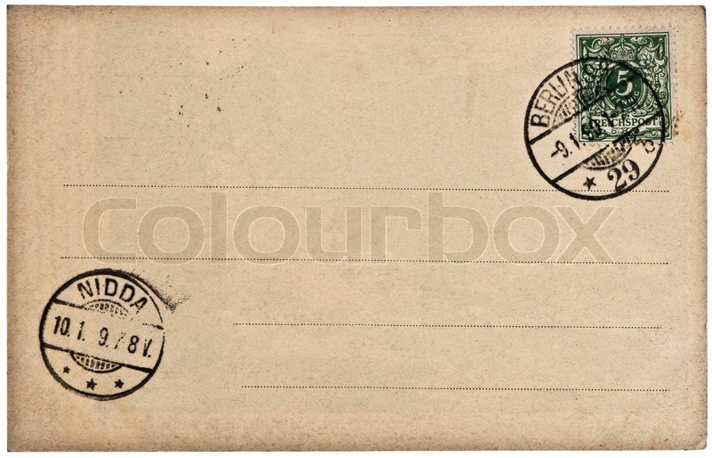 postcard background with postmark and stamp stock photo colourbox