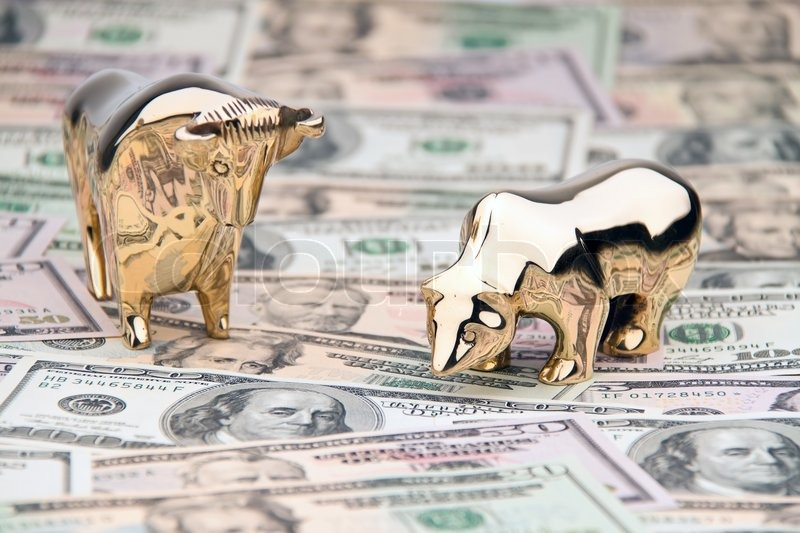 Dollar currency notes with bull and       Stock image   Colourbox