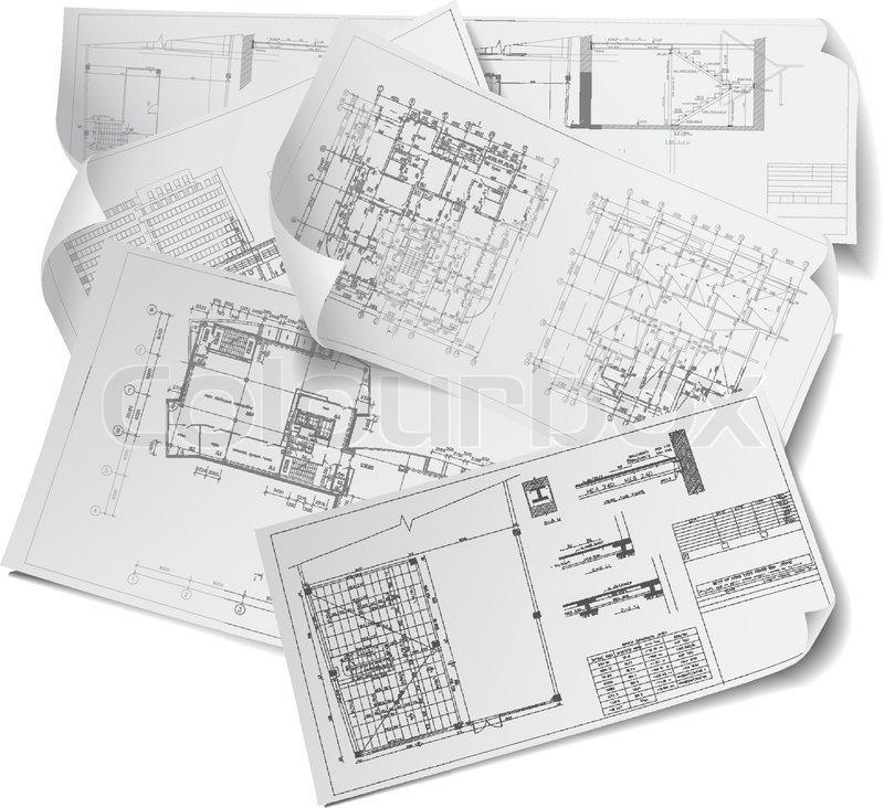 Projekt maleri skitse stock vektor colourbox for Architectural drawing paper sizes