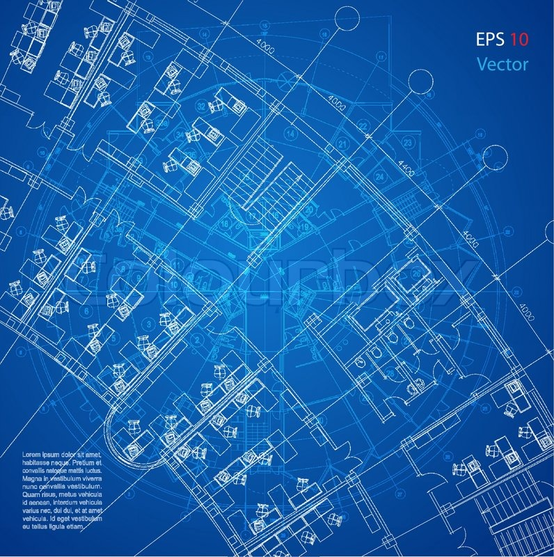 Urban blueprint vector architectural background part for Blueprints website