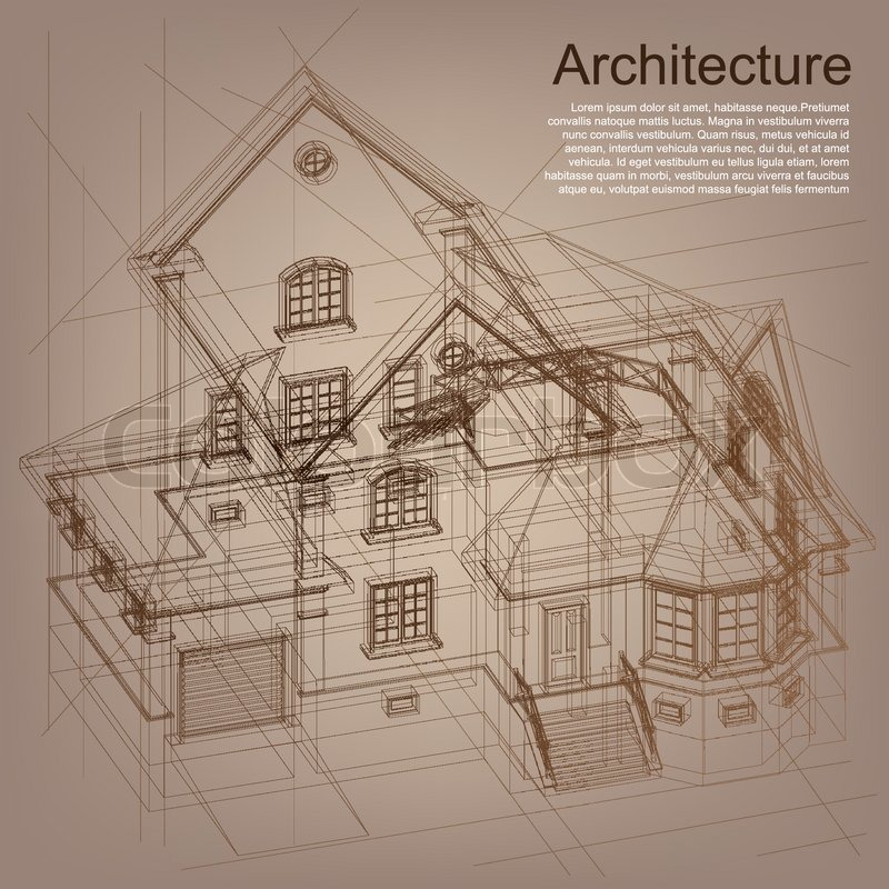 Vintage architectural background part of architectural for Architecture plan