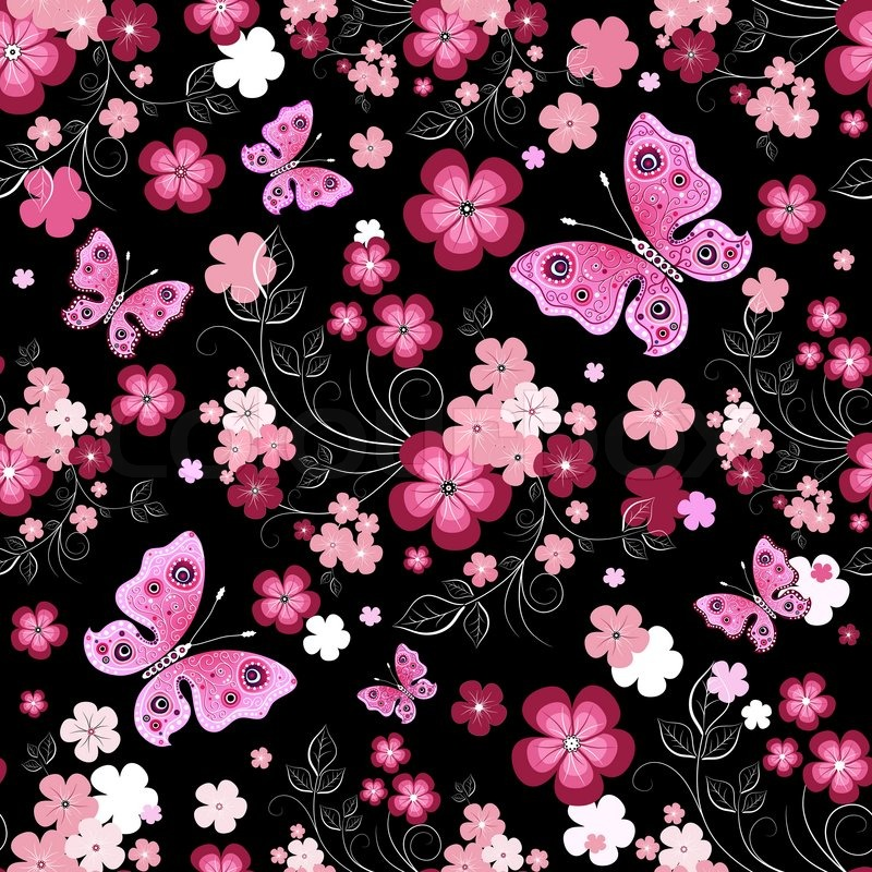 Seamless pink floral pattern - photo#52