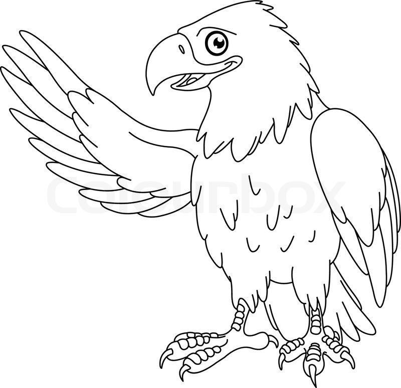 May The 4th Be With You Coloring Page: Outlined American Bald Eagle