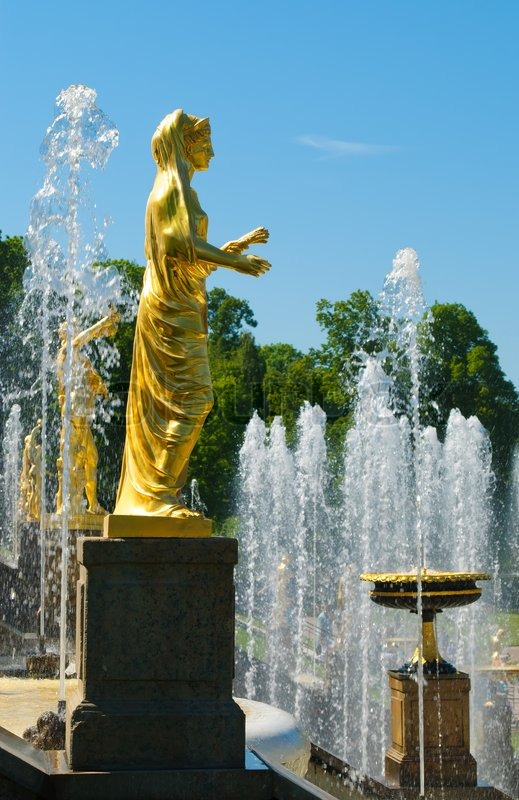 Image of 'Old statue on fountains background Russia, StPetersburg ...