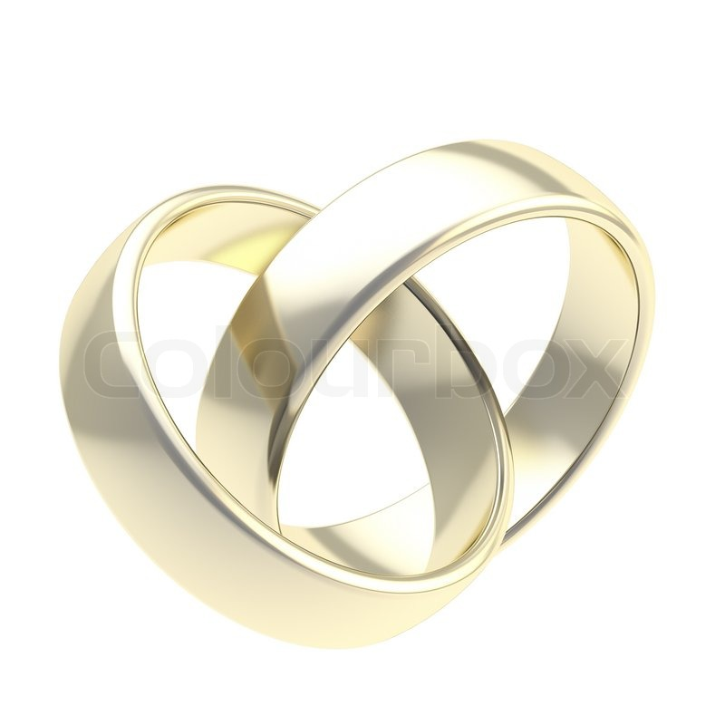 Two golden wedding rings isolated Stock Photo Colourbox