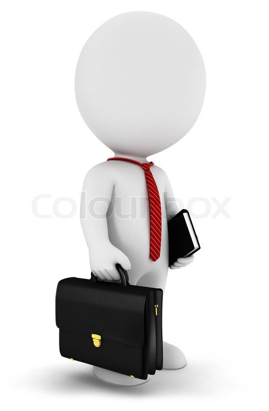 3d white people businessman with a briefcase a book and
