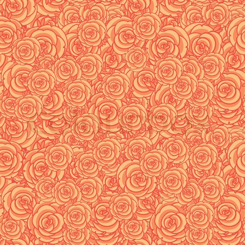 cute orange floral seamless pattern background stock