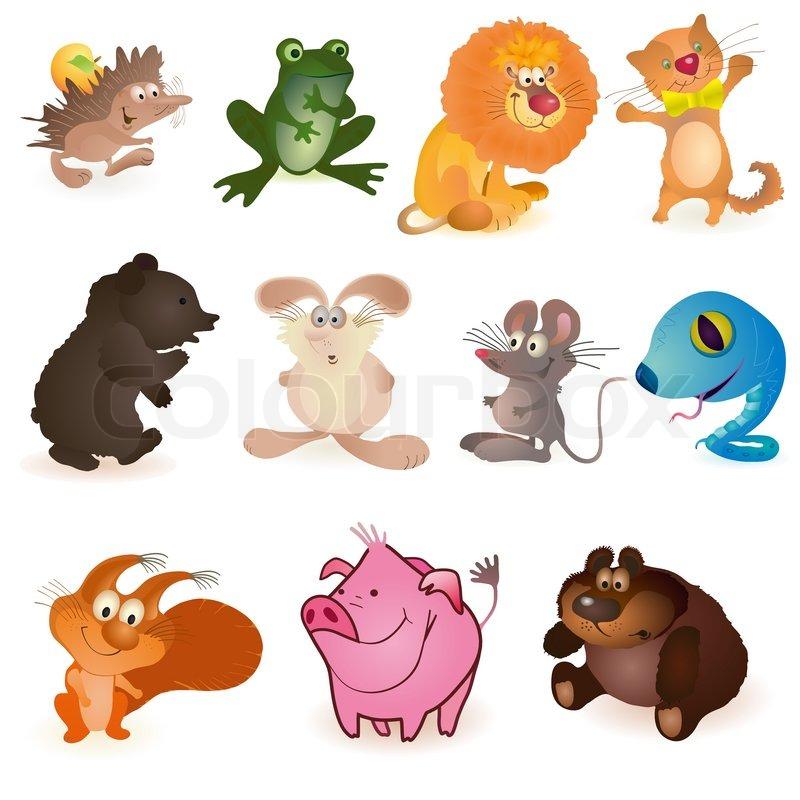 Set Of Eleven Funny Animals Stock Vector Colourbox