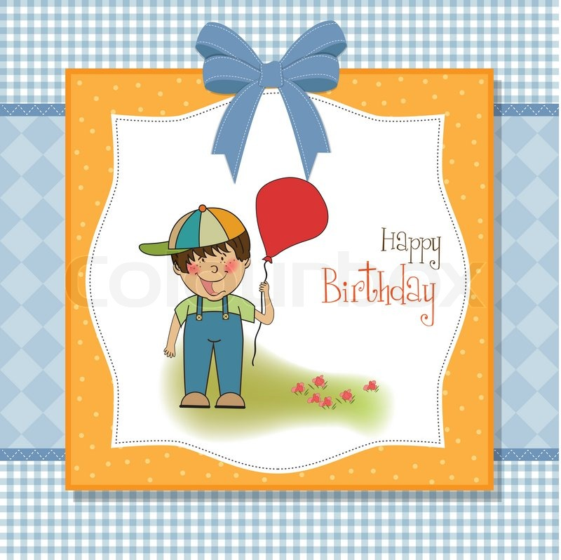 birthday greeting card with little boy  stock vector  colourbox, Birthday card