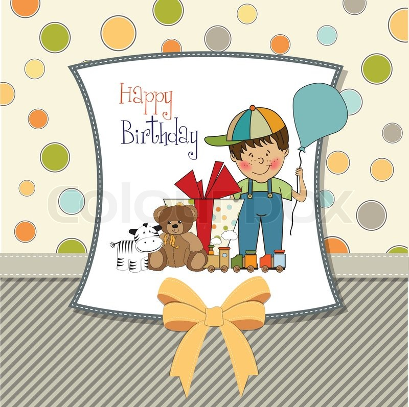 Birthday greeting card with little boy and presents stock vector birthday greeting card with little boy and presents vector bookmarktalkfo Choice Image