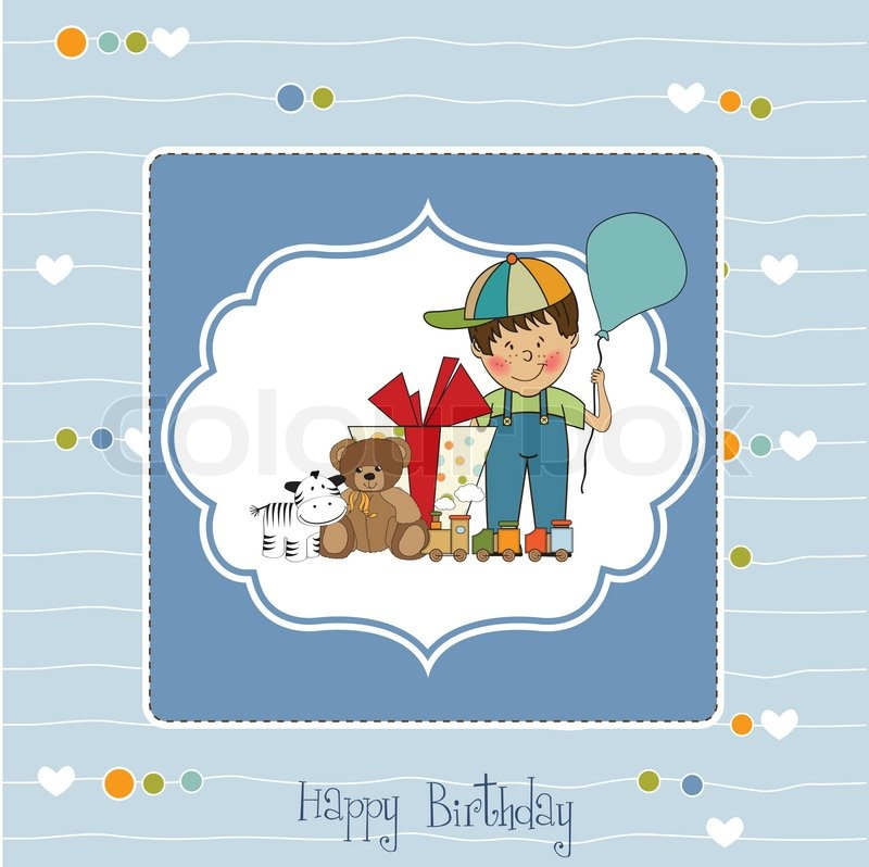 Birthday Greeting Card With Little Boy