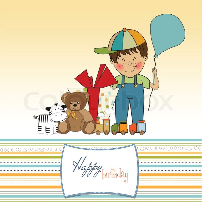 Birthday Greeting Card With Little Boy And Presents Stock Vector