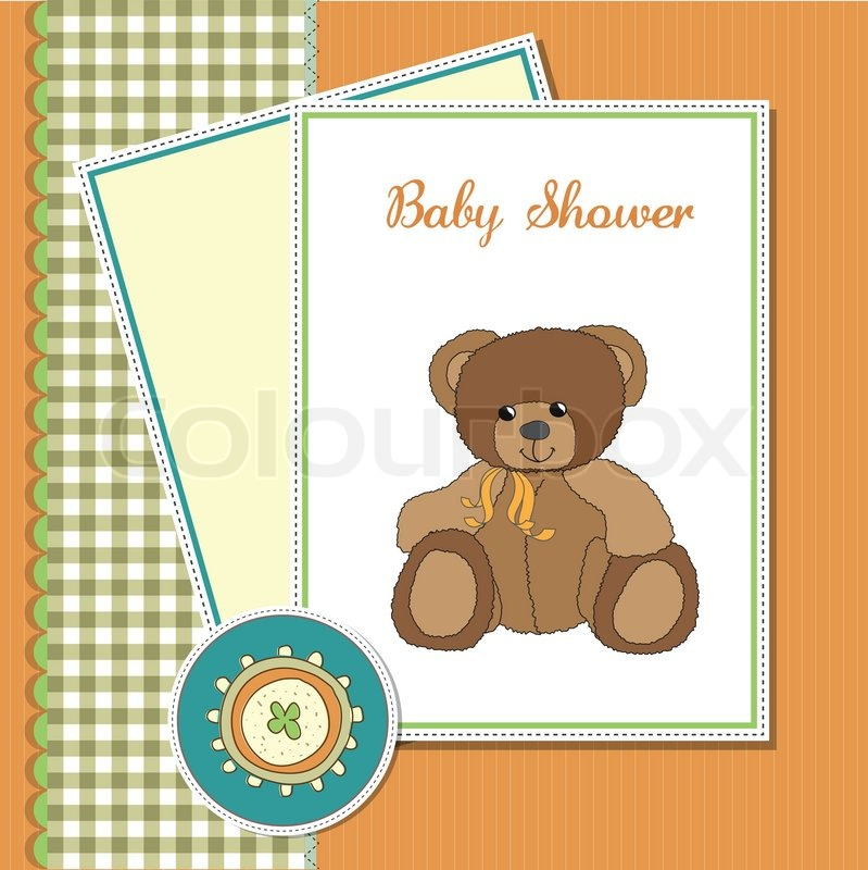 Stock vector of 'baby greeting card with sleepy teddy bear'