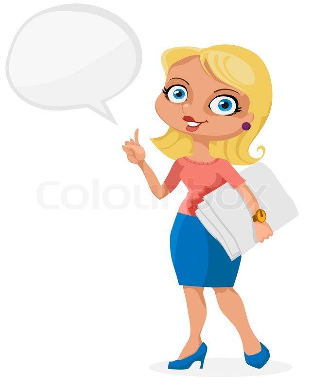 Offise M 228 Dchen Blonde Mit Papier Vektorgrafik Colourbox