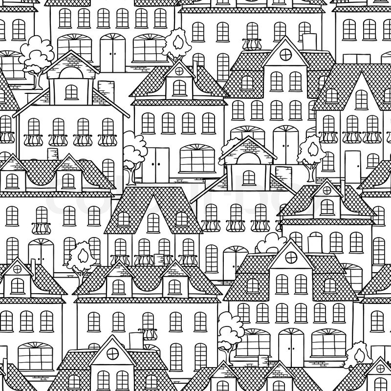 Seamless Vector Pattern With Houses And Trees Stock