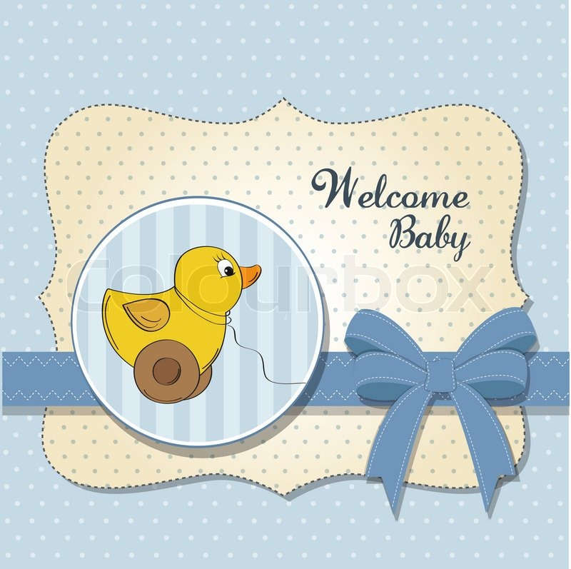 Welcome baby card with duck toy | Stock Vector | Colourbox