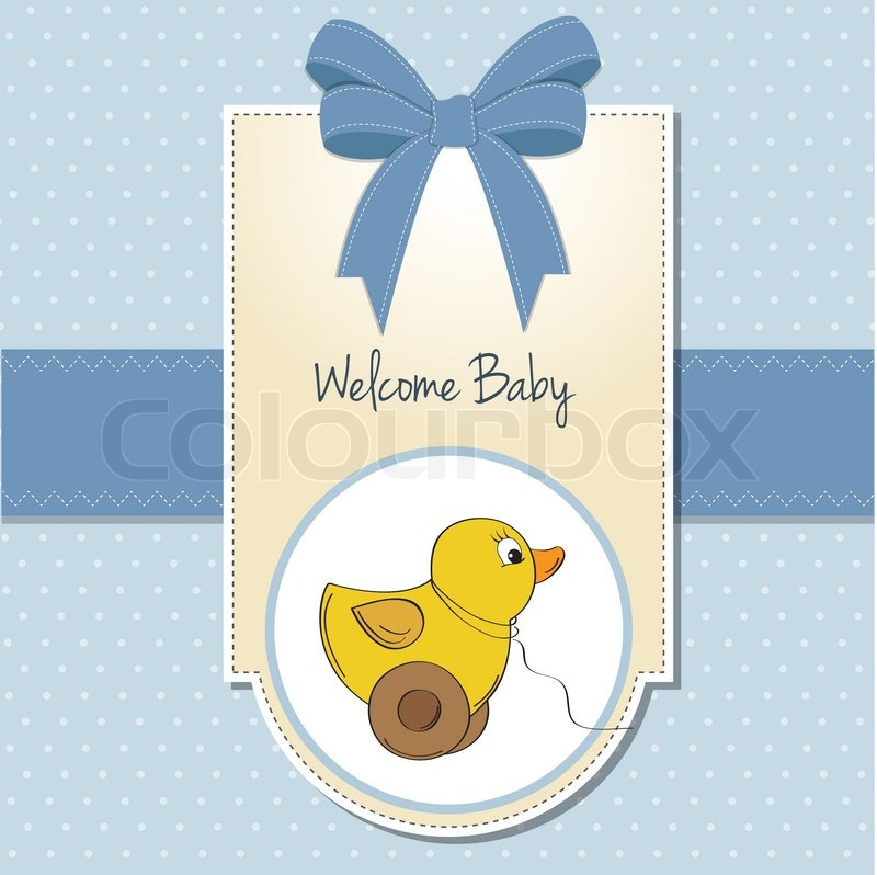 wel e baby card with duck toy stock vector colourbox