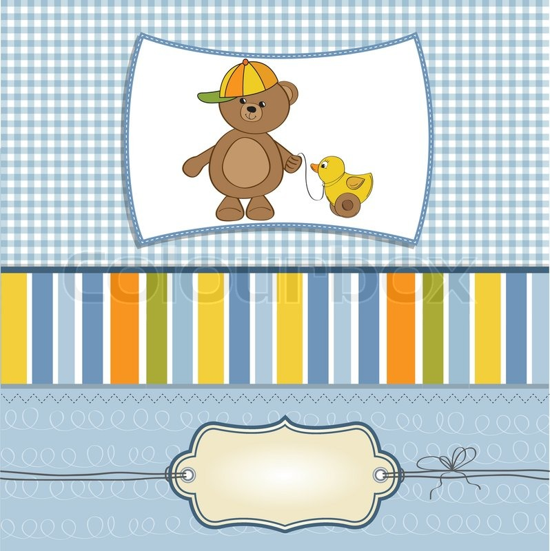 Baby Shower Wiki: Welcome Baby Card With Boy Teddy Bear And His Duck