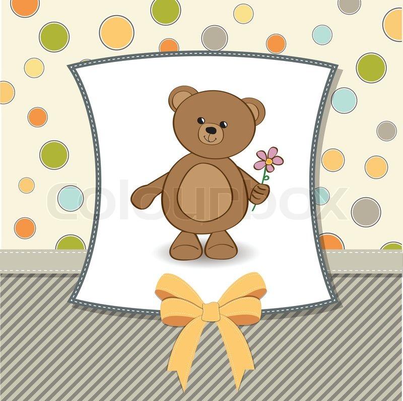 Happy birthday card with teddy bear and flower – Birthday Card Bear