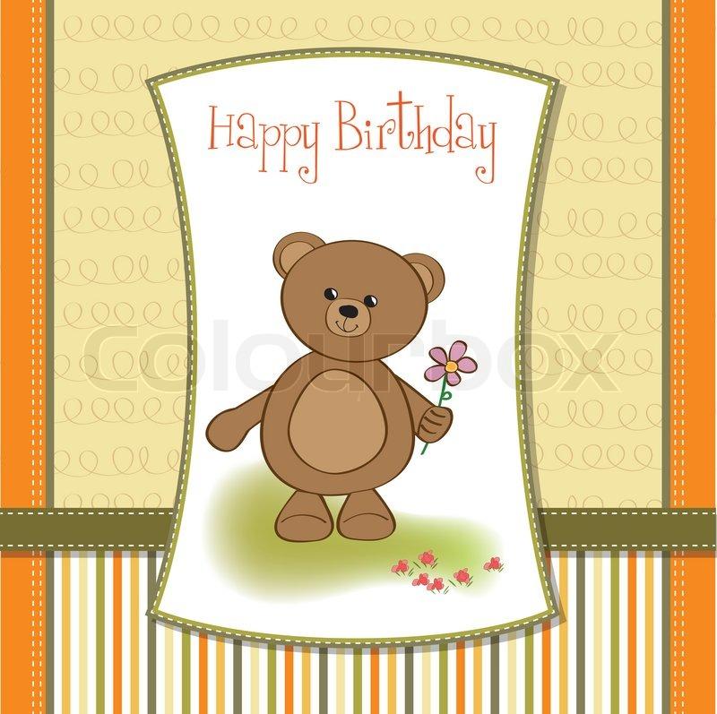 Happy birthday card with teddy bear and flower | Stock ...