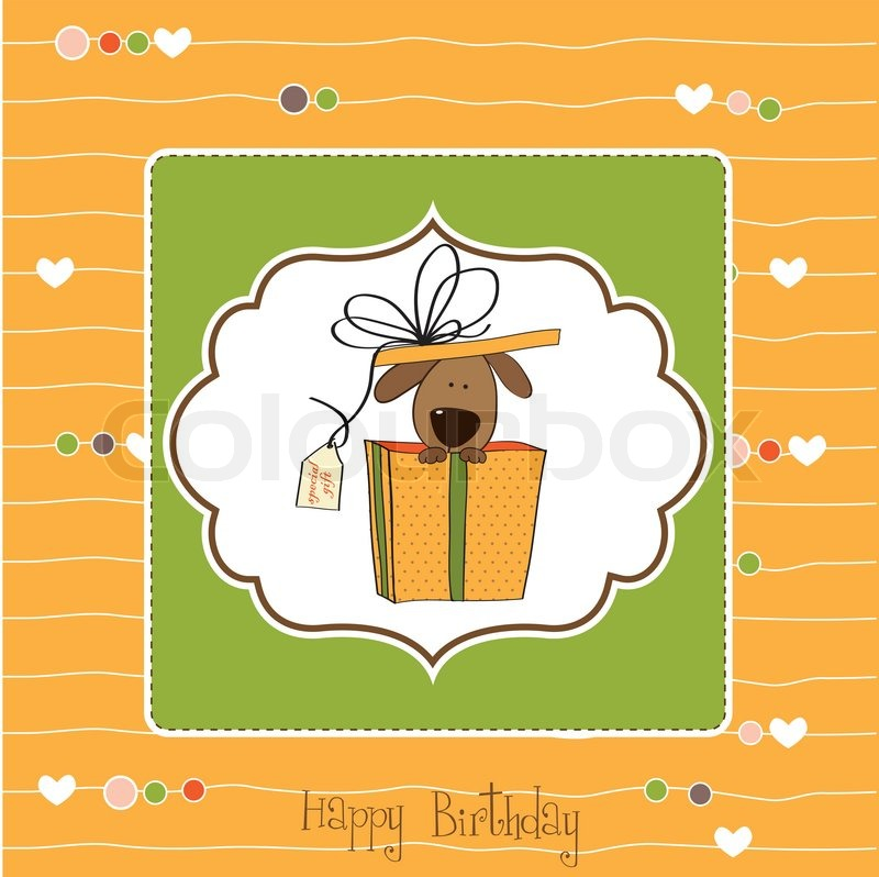 Funny Birthday Card With Dog Stock Vector Colourbox