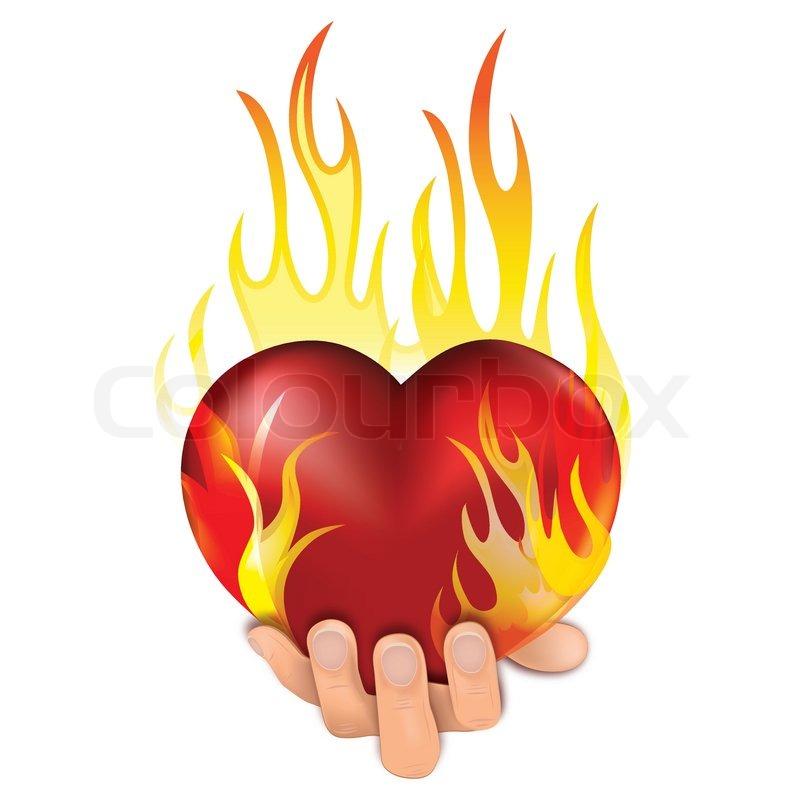 Heart in fire   Stock Vector   Colourbox