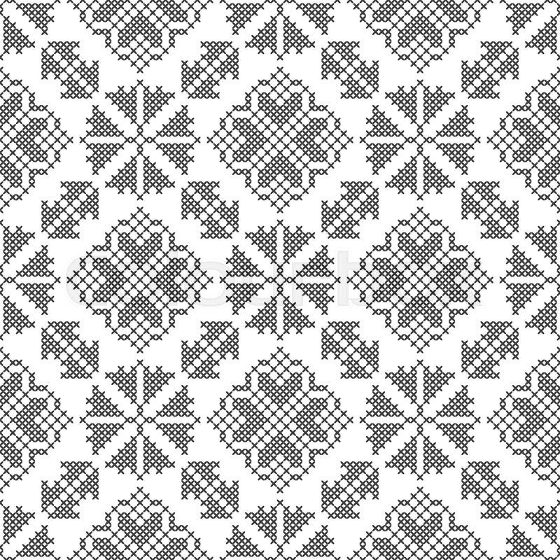 Cross Stitch Black And White Seamless Stock Vector Colourbox